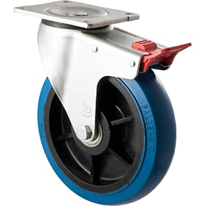 200mm Blue Rubber Swivel Plate Total Brake Castor