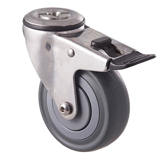 100mm Grey Rubber, Stainless Steel Castors - 140KG Rated