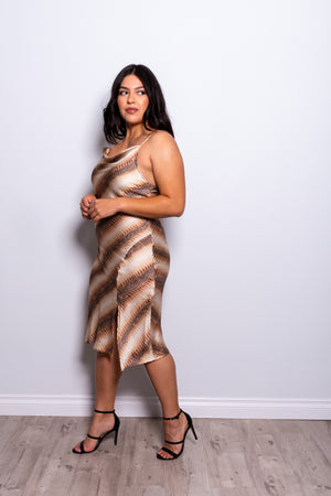 PLUS Dulce Satin Print Dress