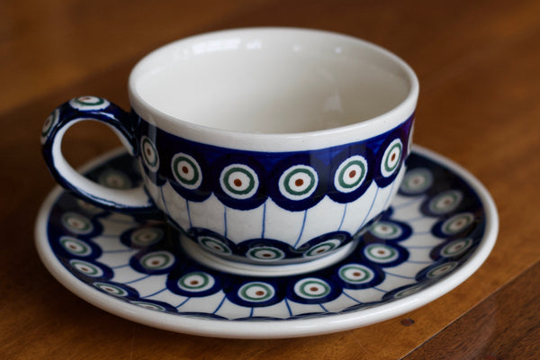 Polish Pottery - Cup and Saucer - Peacocks Eye