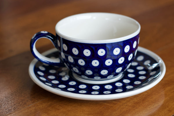 Polish Pottery - Cup and Saucer - Dots