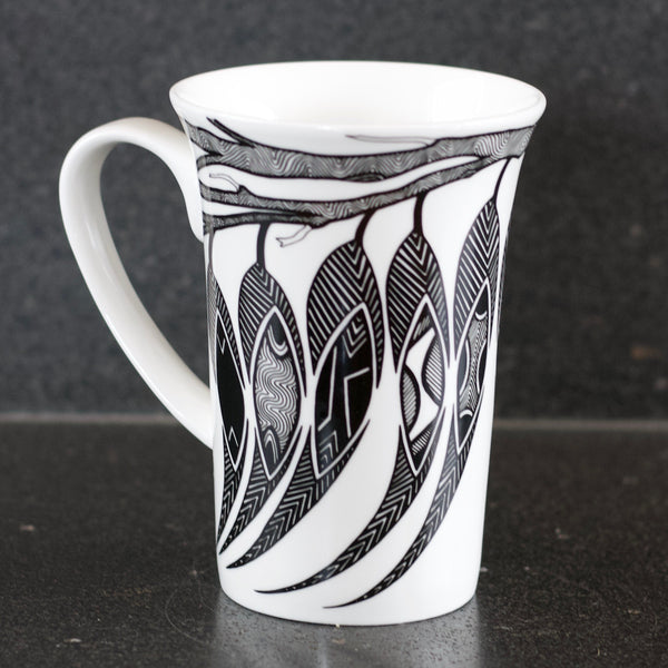 Dancing Wombat Mug with gum leaves by Mick Harding,