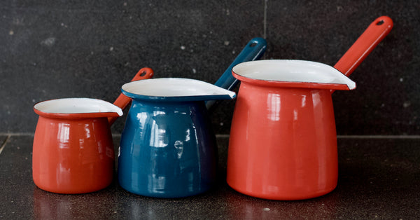 enamel turkish coffee pots - 3 sizes
