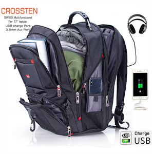 "Crossten 17.3"" Laptop Backpack Waterproof USB Charge Port Swiss Multifunctional Rucksacks Schoolbag Mochila Hiking Travel bag"