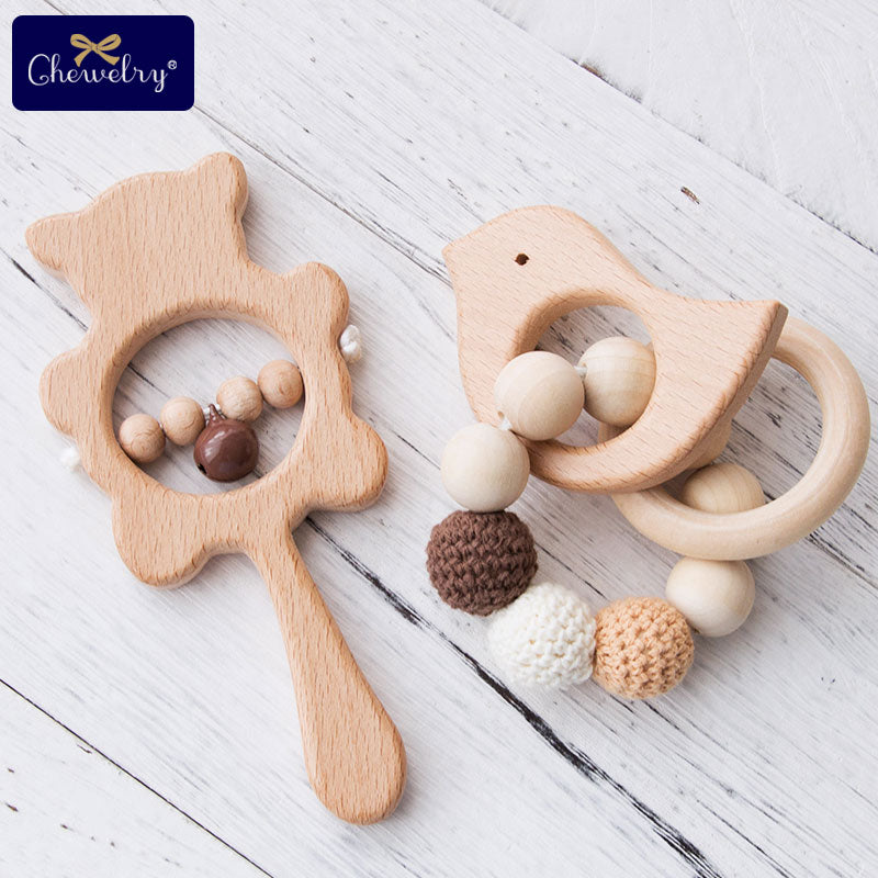 1 Set Wooden Teether Rattle & Wooden Bracelet