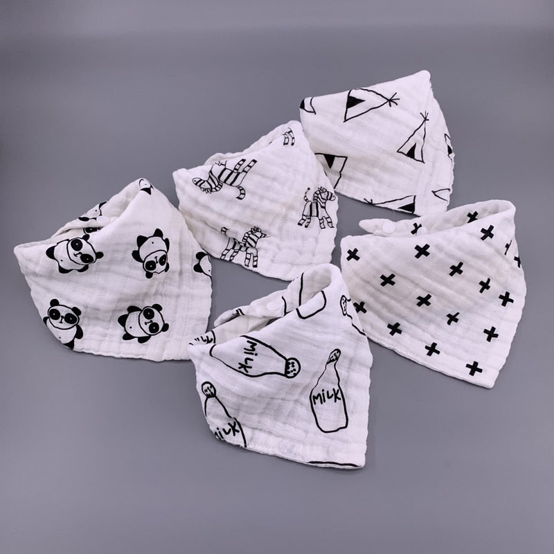 5pcs Musiln Cotton baby bibs