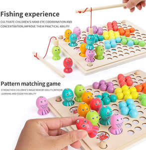 Magnetic Wooden Fishing Game Peg Board Beads Game
