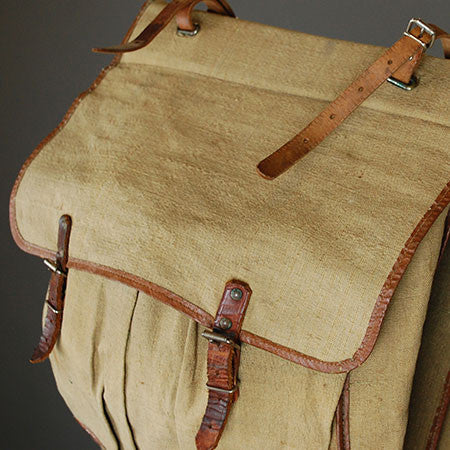 Linen and Leather Small Pannier