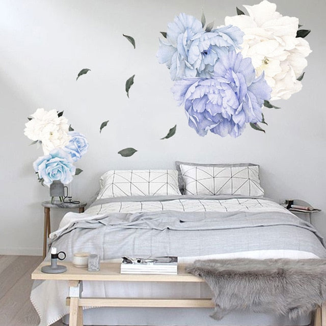 Peony Rose Flowers Wall Art Sticker Decals Vinyl Stickers Kid Room