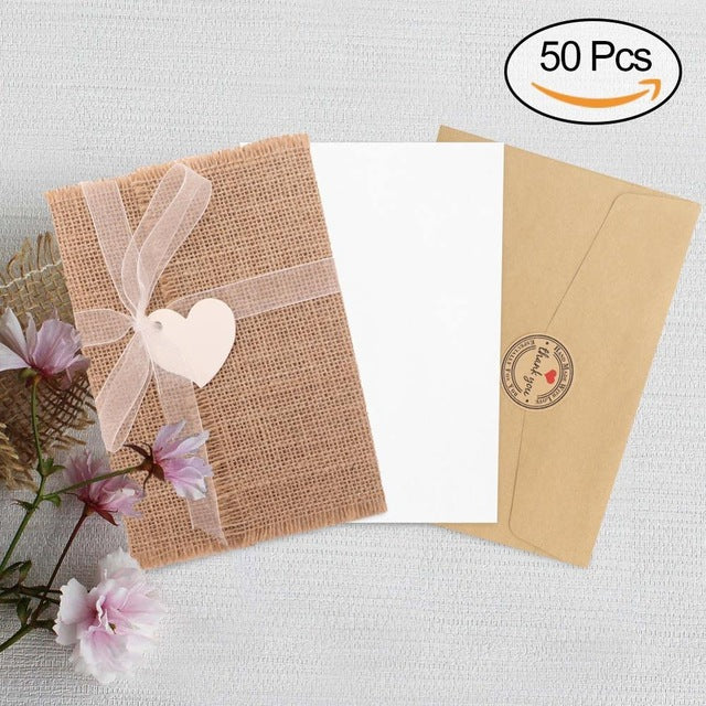 Wedding Invitations Paper Blank Card Heart Lace Burlap Envelope