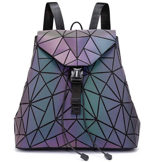 Women Backpack Geometric Luminous Bag Schoolbag for Teenage Girl - Saiftec Deals