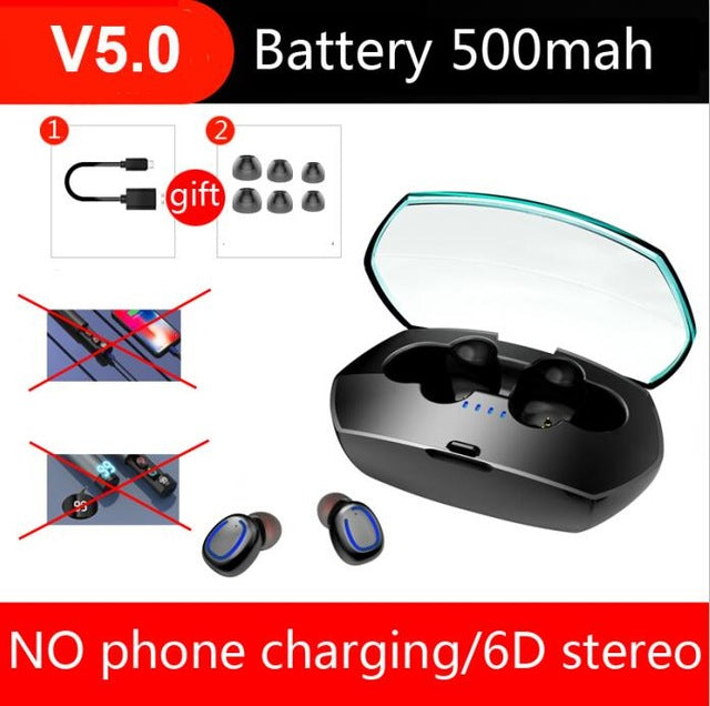 Bluetooth Earphone 6D Stereo Wireless Earphones In-ear PX7 Waterproof Headset