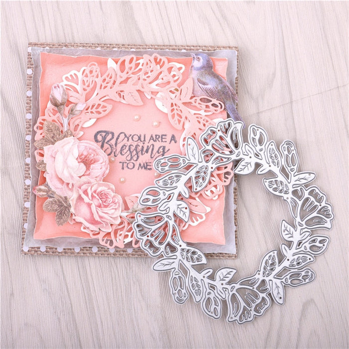 Flower Frame Metal Cutting Dies Wreath Stencils for DIY Scrapbooking Photo Album Decorative