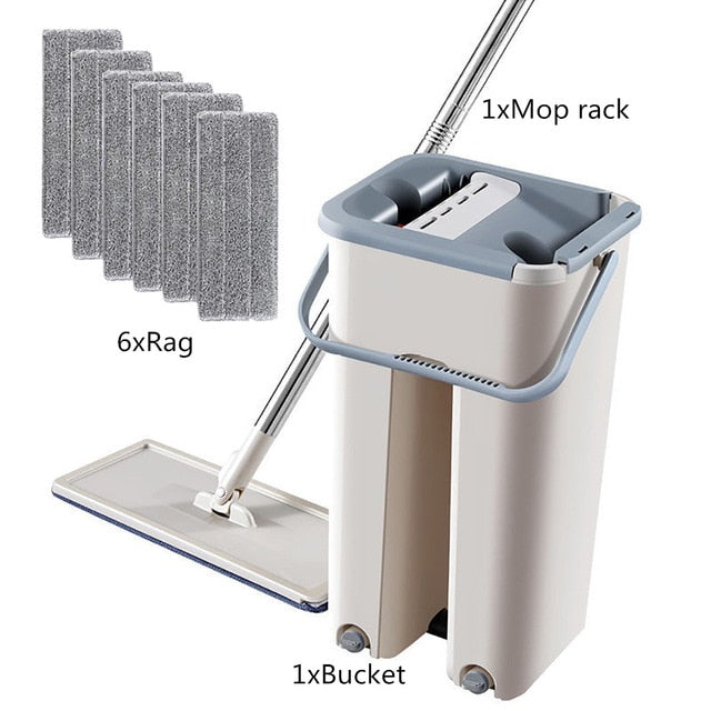 Floor Mop Set Automatic Mop And Bucket Avoid Hand Washing Microfiber Cleaning Cloth