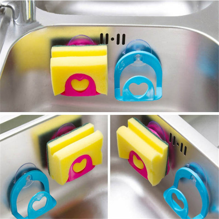 Suction Cup kitchen Sink Sponge Shelf Rack Holder Multi-functional