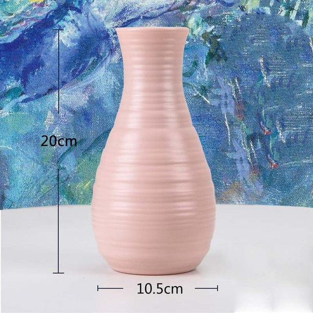 Origami Plastic Vase Milky White Imitation Ceramic Flower Pot