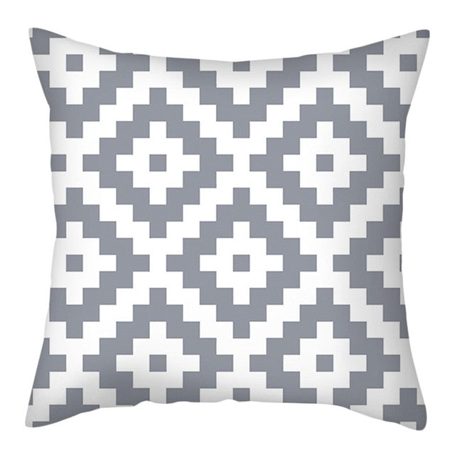 White and Black Stripe Wove Throw Pillow