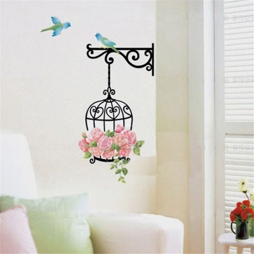 Fashion Flower Bird Wall Decal Sticker