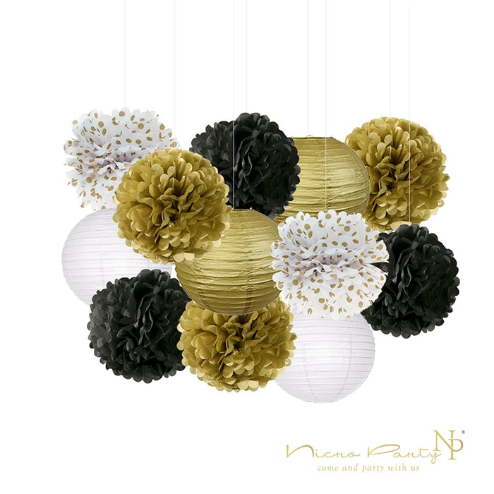 Gold Black Birthday Graduation Baby Shower Party Decoration Kit