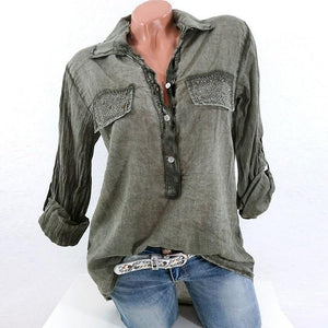 Lace V-neck Patchwork Blouse Casual Top