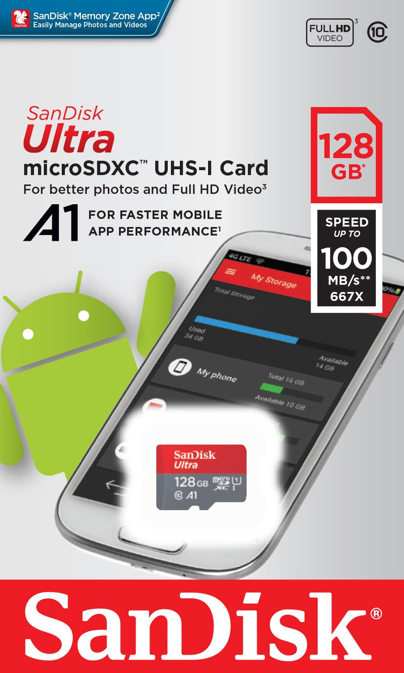 SanDisk Ultra 128GB microSDXC UHS-I card with Adapter - 100MB/s U1 A1 - SDSQUAR-128G-GN6MA - Coeexus