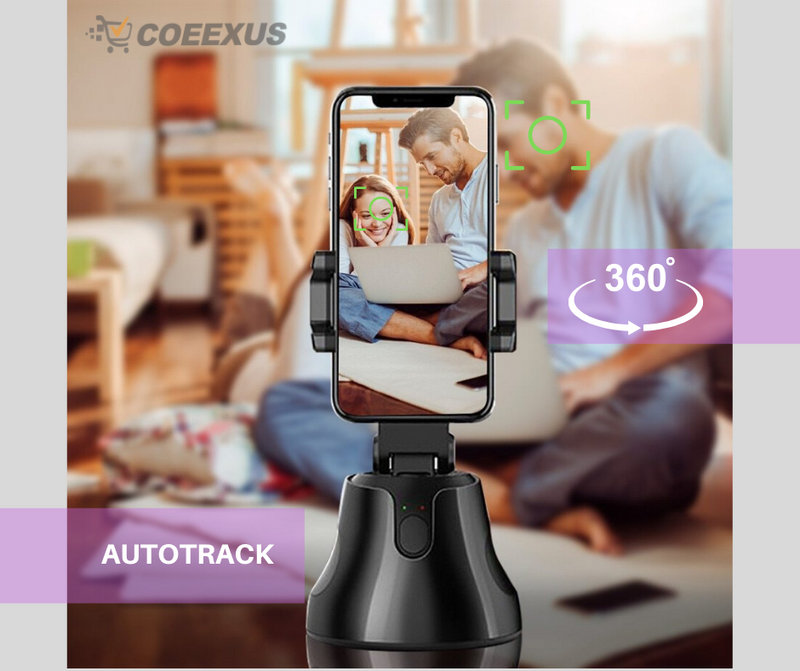 Portable Auto-tracking Smart Capture Selfie Sticks , 360 Rotation Auto Face Tracking Camera Smart Shooting Camera Auto take picture Phone - Coeexus