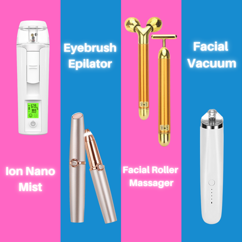 Facial Massage and Cleaning kit - Facial Vacuum -  2 Golden Roller Massager- 3 in 1 Negative Ion Mist - Eyebrow Epilator