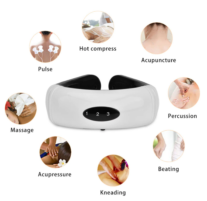 Electric Neck Massager Pulse Back 6 Modes Power Control Far Infrared Heating Pain Relief Cervical Physiotherapy Massager - Coeexus