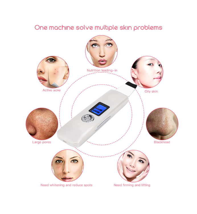 Professional LCD Ultrasonic Skin Scrubber Deep Cleaning Face Scrubber Vibrating Facial Cleansing Skin Spatula Peeling Beauty - Coeexus