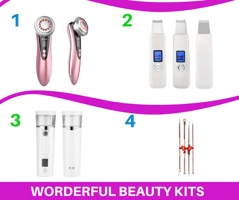 4 in 1 Beauty Kit Professional LCD Ultrasonic Skin Scrubber - 5 in 1 Facial skin care device multifunction Ion -Mini Nano Mister Portable Facial Steamer - Acne Tool - Coeexus