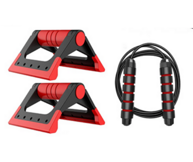Set 2 in 1 Pair Push Ups Stands & Resistance Band with Closed-Loop Sports Muscular Training Pushup Bar Indoor Fitness Equipment Exercise Set - Coeexus
