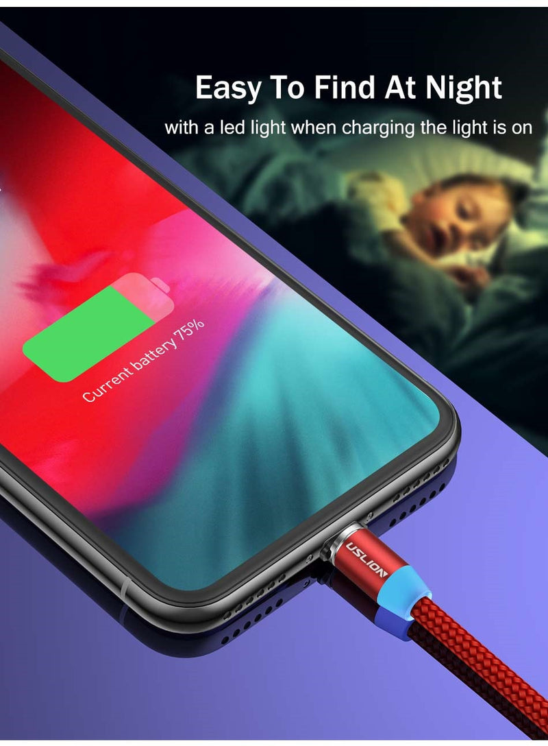 3A Fast Charging Magnetic USB Cable Type C Micro Cable LED Nylon Braided Type-C Magnet Charger For Iphone XS 7 Samsung 1M - Coeexus