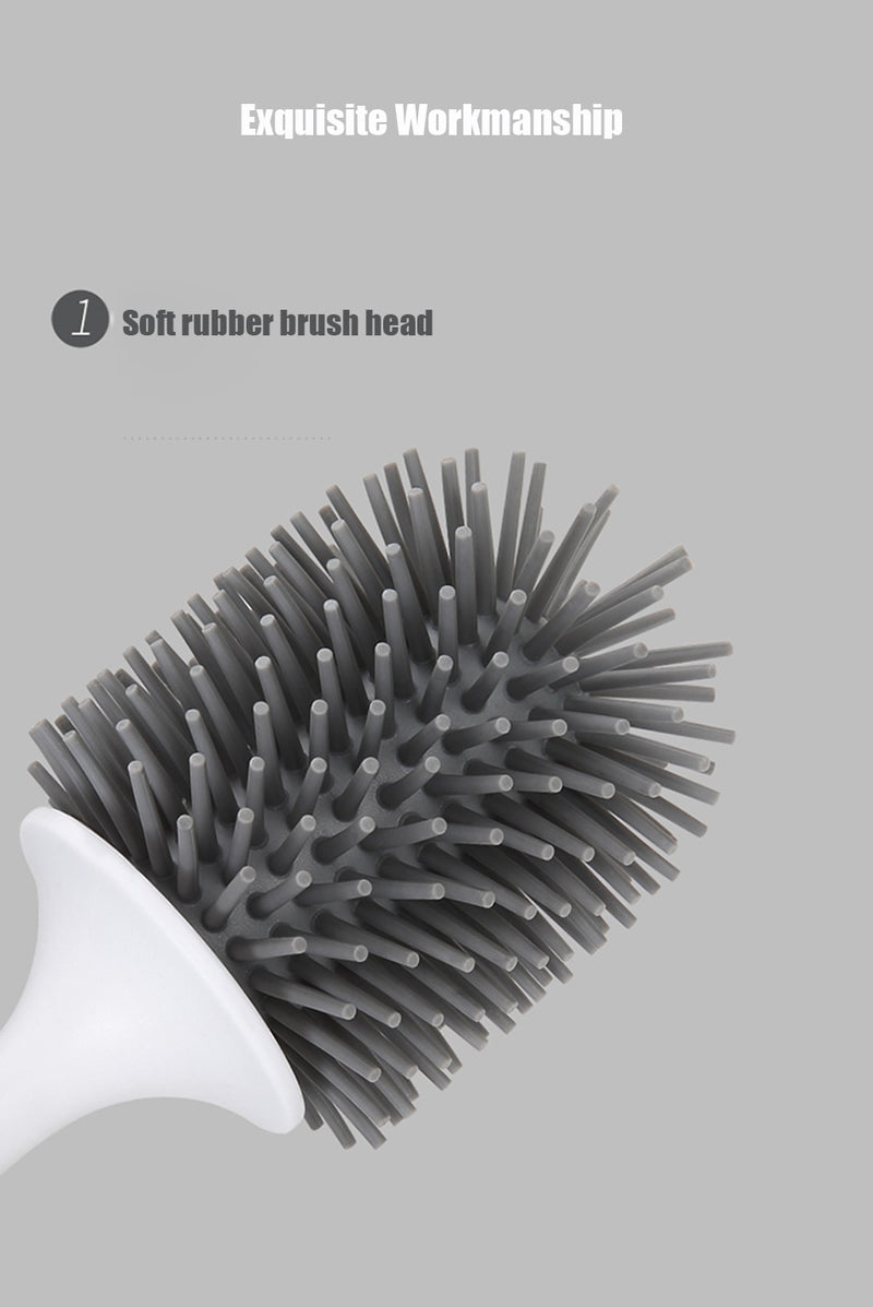 Toilet Brush Rubber Head Holder Cleaning Brush For Toilet Wall Hanging Household Floor Cleaning Bathroom Accessories - Coeexus