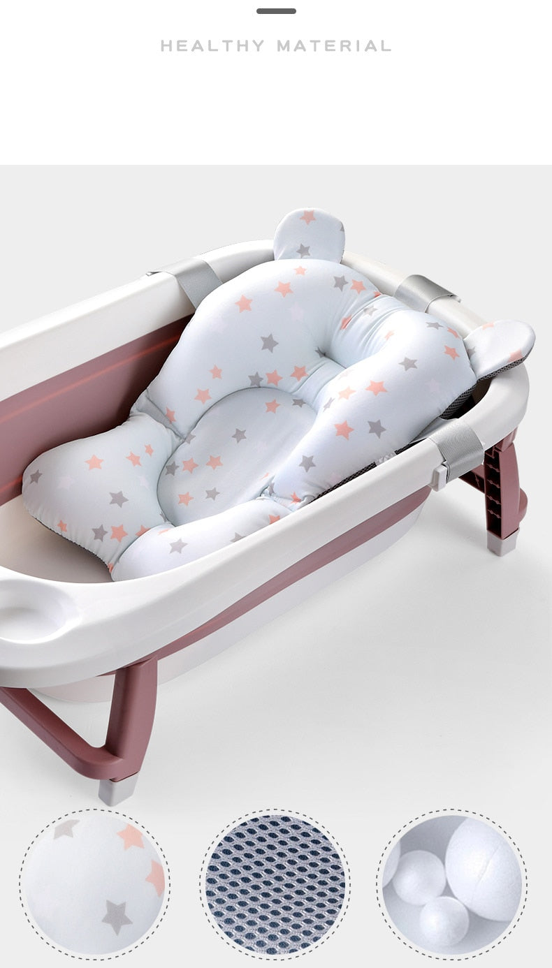 Baby Bath Seat Support Mat Foldable Baby Bath Tub Pad & Chair Newborn Bathtub Pillow Infant Anti-Slip Soft Comfort Body Cushion - Coeexus