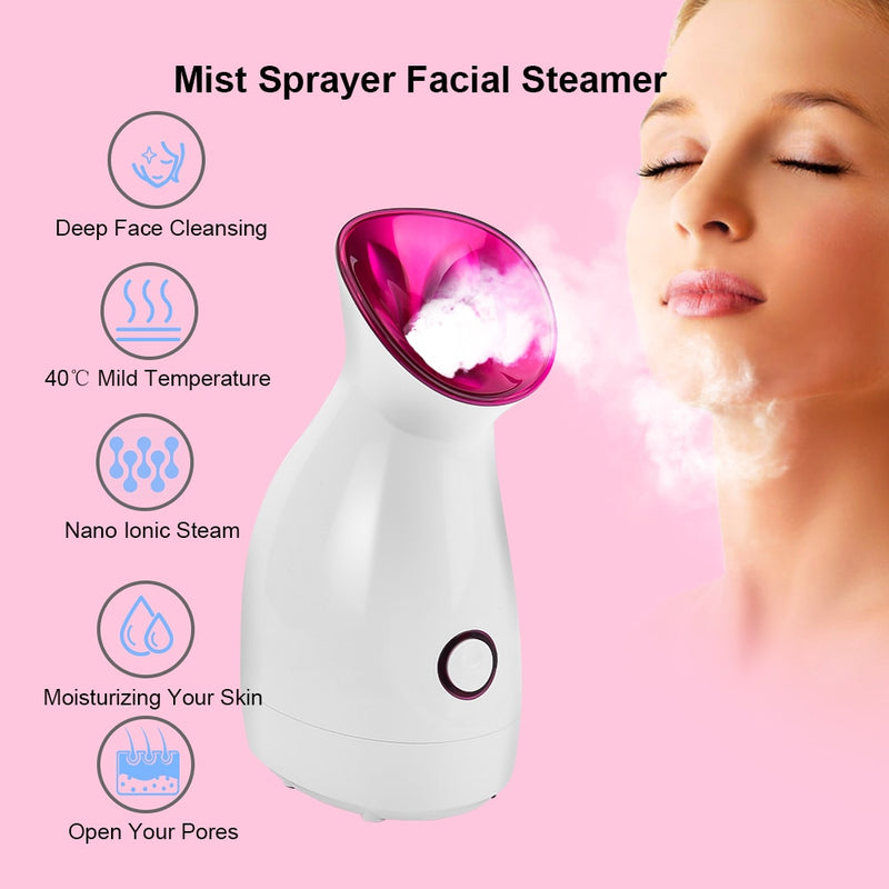 Facial Steamer Nano Lonic Humidifier Moisturizing Cleaning Pores Clearing Blackheads Hot Mist Sprayer Home Sauna SPA Skin Care - Coeexus