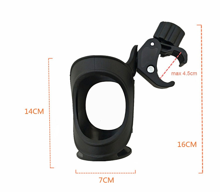 Baby Stroller Cup Bottle Holder 360 Degrees Rotation Antislip Cup Drink Holder for Baby Stroller/Pushchair Black Accessories - Coeexus