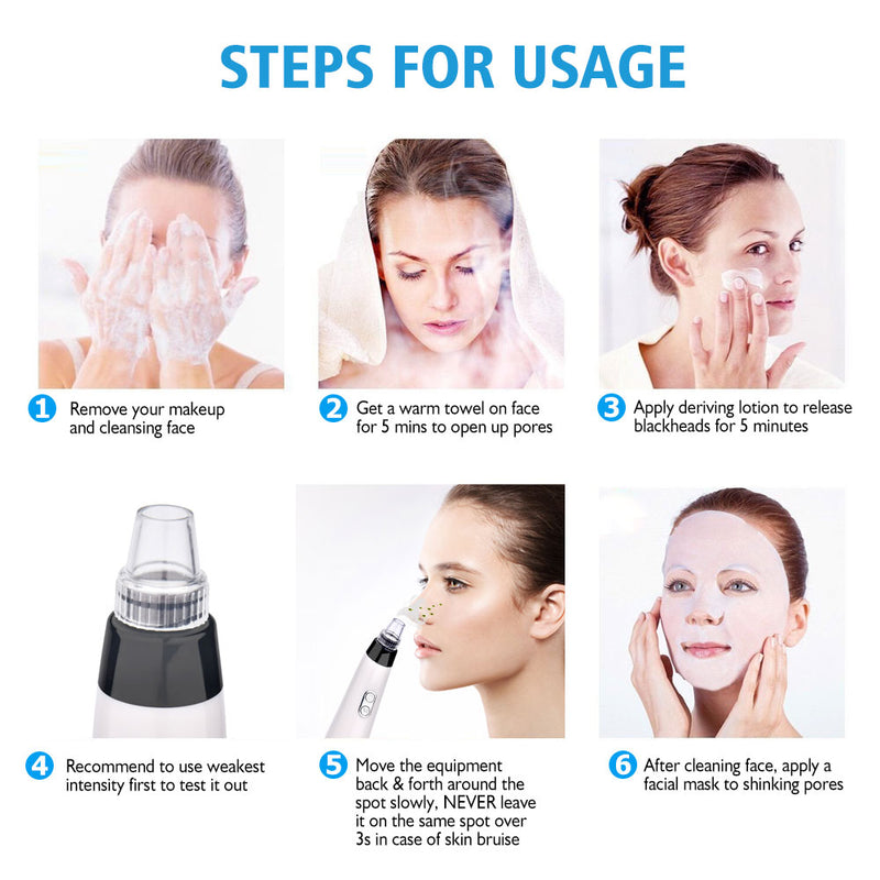 Facial Cleaner Nose Blackhead Remover Deep Pore Acne Pimple Removal Vacuum Suction Diamond T Zone Beauty Tool Face Household SPA - Coeexus