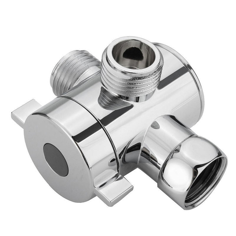 1/2 Inch ABS Chrome 3 Way Diverter Hose Fitting Tee T Shape Adapter Connector for Angle Valve Hose Bath Shower Arm Toilet
