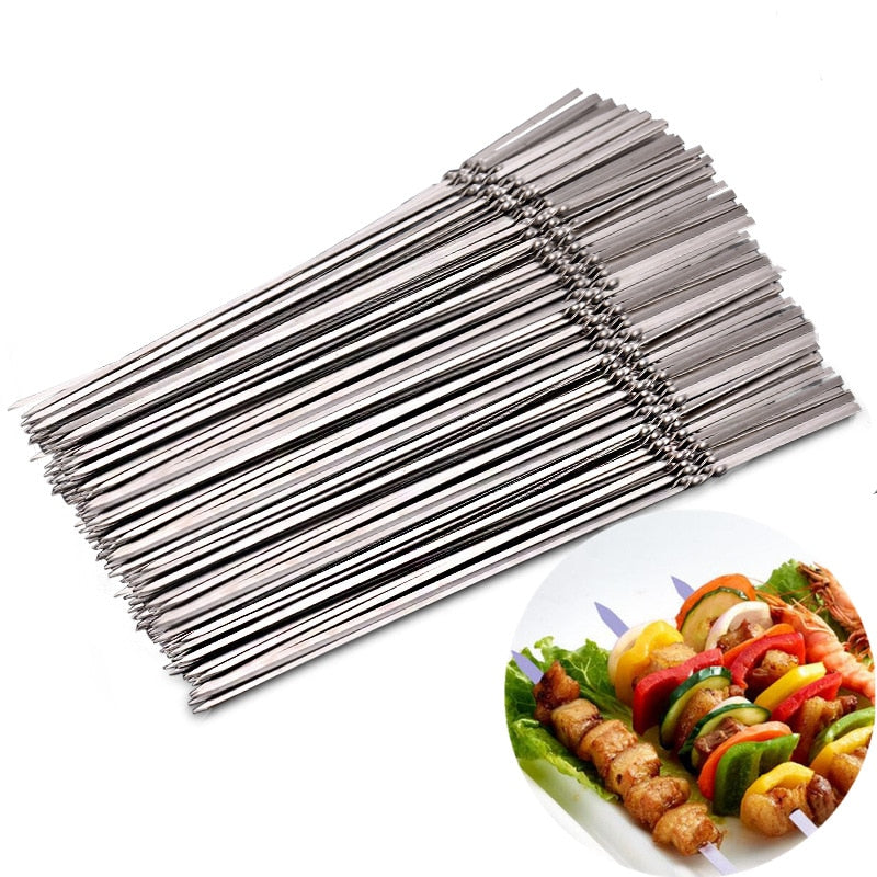 15pcs Reusable flat stainless steel barbecue skewers bbq Needle stick  For outdoor camping picnic tools cooking tools - Coeexus