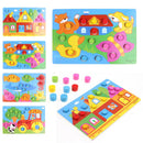 Kids Educational Toys Colorful Cognition Board Montessori Children Wooden Jigsaw Puzzle Toys Color Match Game Board Wooden Toys - Coeexus