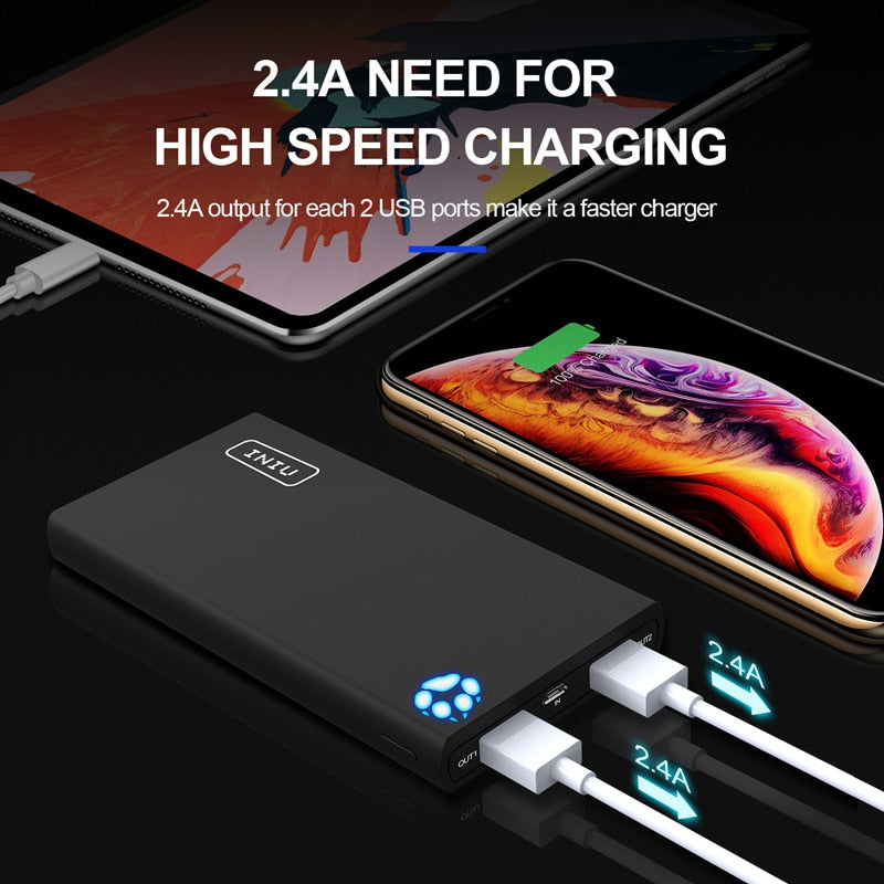 INIU 10000mAh 4.8A Power Bank Dual 2 USB Portable Charger Powerbank For iPhone X Xiaomi mi Phone Poverbank External Battery Pack - Coeexus