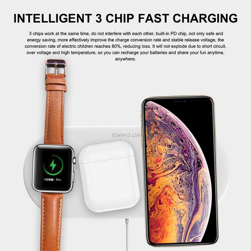Amstar 3 in 1 Wireless Charger for Airpods Apple Watch 5 4 3 2 1 iWatch 10W Fast Wireless Charging Pad for iPhone 11 Pro XS X 8 - Coeexus