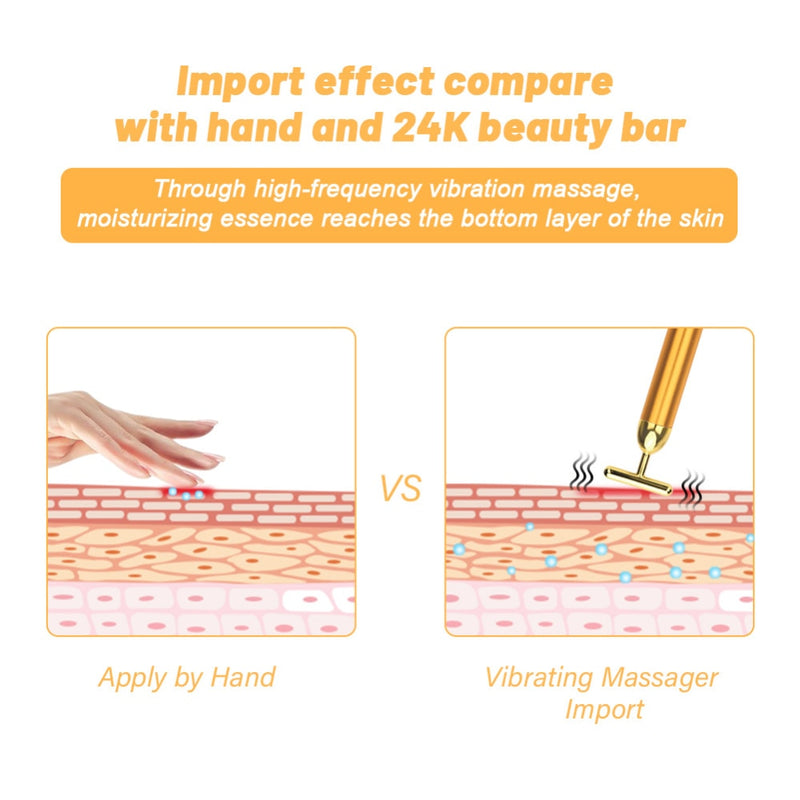 3 in 1 Energy Beauty Bar 24k Golden Vibrating Facial Roller Massager Face Lifting Anti-wrinkle Skin Care Roller Ball + Acne Tool FREE - Coeexus