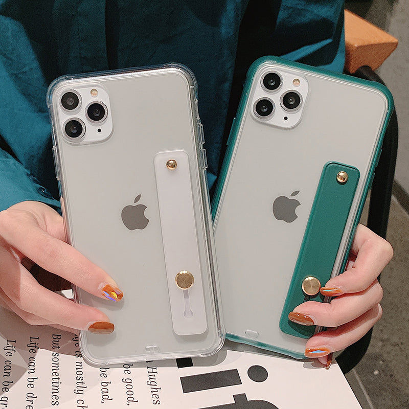 Shockproof Bumper Transparent Phone Case For iPhone 11 Pro X XR XS Max 8 7 6 6S Plus Clear Soft TPU Wrist strap stand Back Cover - Coeexus