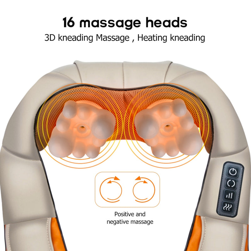 Back Neck Shoulder Massager U Shape Electrical Shiatsu Car Home Dual Use Infrared Kneading Therapy Ache Body Massage - Coeexus