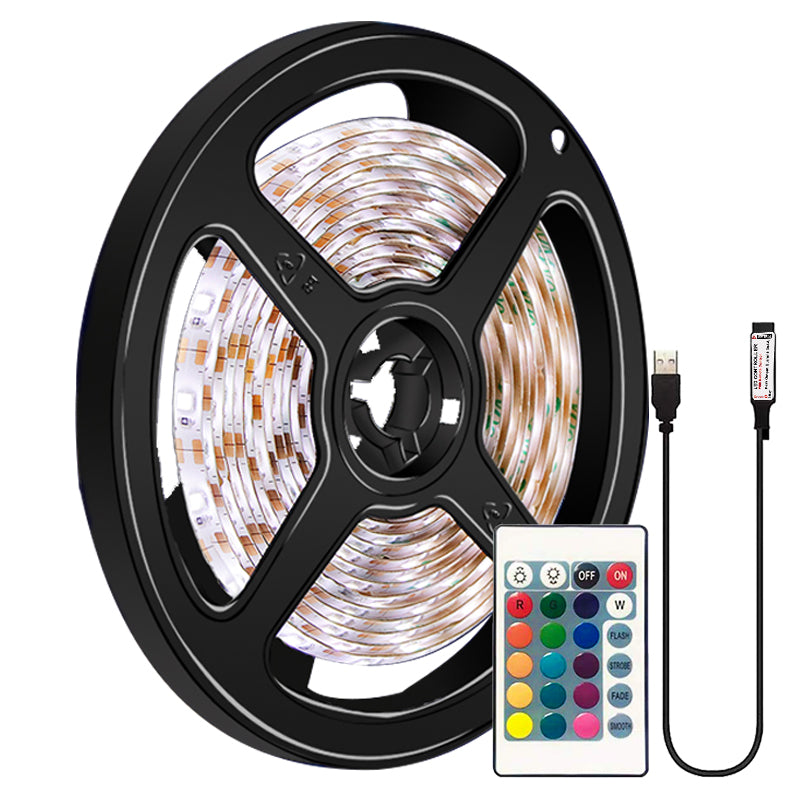 16Colors 5050 LED Strip Lights 0.5-5M 5V USB Waterproof Flexible TV Back Light RGB Colour Changing with 24Key Remote Control - Coeexus