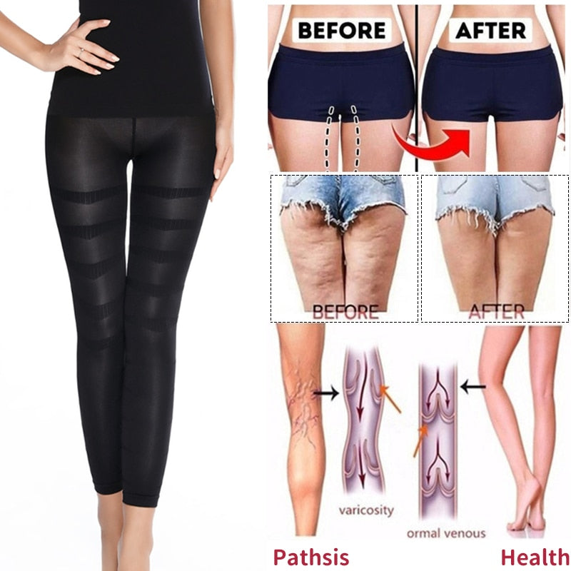 Shapewear Anti Cellulite Compression Leggings Leg Slimming Body Shaper High Waist Tummy Control Panties Thigh Sculpting Slimmer - Coeexus