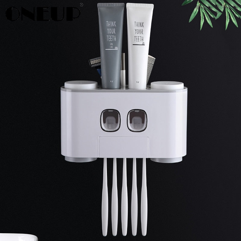 Automatic Toothpaste Dispenser Dust-proof Toothbrush Holder With Cups No Nail Wall Stand Shelf Bathroom Accessories Sets - Coeexus