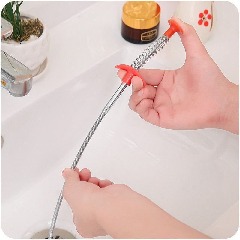 24.4 Inch Spring Pipe Dredging Tools, Drain Snake, Drain Cleaner Sticks Clog Remover Cleaning Tools Household for Kitchen Sink - Coeexus