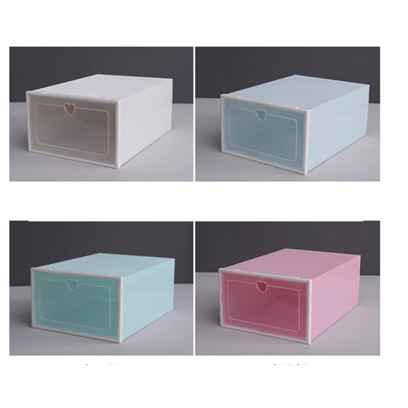 1 PC Thickened Drawer Shoe Storage Box Transparent Plastic Shoe Organizer Case Stackable Rectangle PP Shoe Boxes Organizer